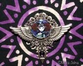 LAST ONE Steampunk Circus Angel Wings BROOCH Pendant Temple Myka Jelina Fairy Art
