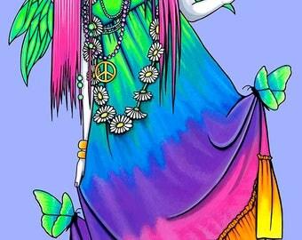 Chloe Rainbow Butterfly Hippie Fairy Hand Signed BIG Myka Jelina Art Print