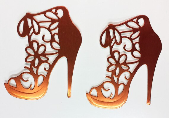 High Heel Shoe Foil Die Cut Flower Lace Bright Orange Elegant Feminine Embellishment Scrapbook Greeting Card Art Craft Mixed Media Gift