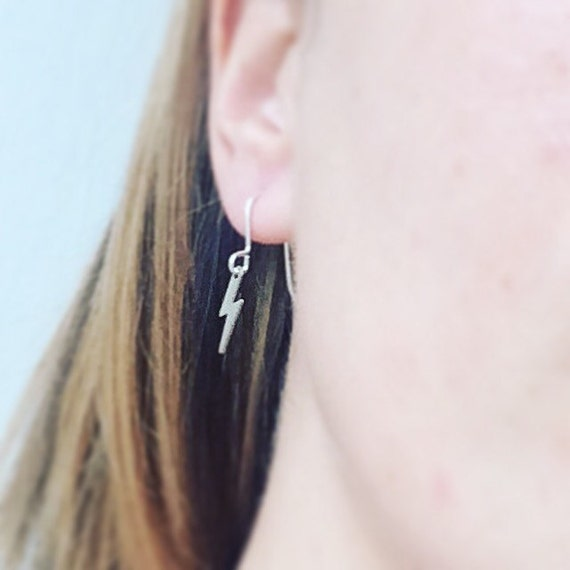 Silver Tone Lightening Bolt Earrings - Tiny - Ziggy Stardust - Harry Potter - David Bowie - Zig Zag