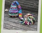 Newborn Elf Hat - Baby Photography Prop  - Twin Props - Elf - Rainbow tons of color Baby Hat - Handdyed and Handspun yarn