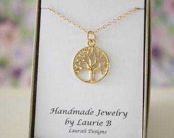Tree of Life Charm Necklace, Friendship Gift, Gold, Bestie Gift, Gold Tree of Life, Thank you card, Tree Charm, Yellow Tree, Family Tree