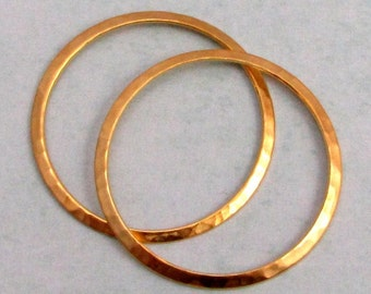 Large Hammered Ring, Matte Gold, 2 Pc. AG254