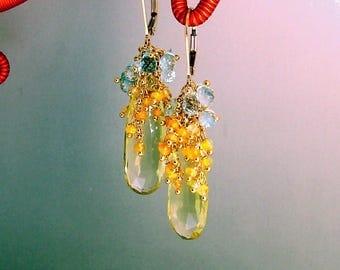 14k Gold GF Lemon Oro Verde Quartz Briolette Golden Opal Chandelier Earrings