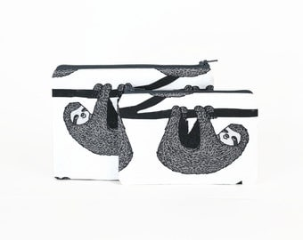 CHOOSE SIZE Sloths on the Branches Zipper Pouch / Gray Sloth Camera Bag on Blue / Make Up or Pencil Pouch