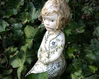 Ceramic Sculpture, illustrated ceramic figure, Thumbelina