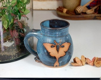 Luna Moth Mug in Slate Blue - Made to Order