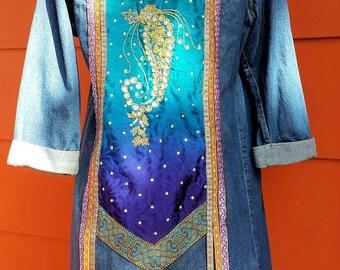 Gypsy Boho Embellished Denim Duster Long Coat medium size
