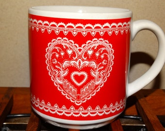 Valentine Coffee Mug, My Heart is Yours, Sweetheart Hot Cocoa Mug, Red & White, Heart, Cupid, Lovers, Chantilly Lace Embellishment