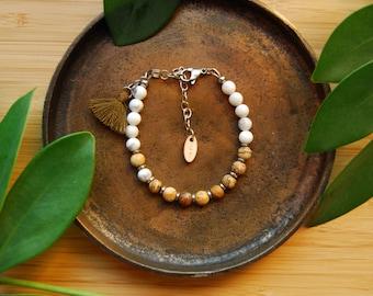 The  Time Traveler bracelet /picture jasper / mala bracelet / minimalist bracelet / howlite / hematite /silver / tassel bracelet