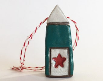 Christmas Tree Ornament Ceramic Ornament House Ornament  red green ooak