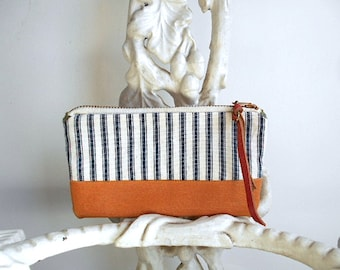 SALE Indigo ticking stripe, waxed canvas utility pouch, wallet, cosmetic bag - eco vintage fabrics
