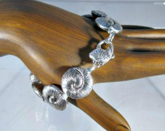 CLOSEOUT Pewter Sea Shell Bracelet with Fish Toggle Clasp Plus Size