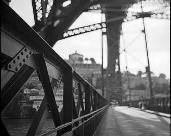 Porto, Street Photography, Bridge, Geometric Photography, Limited Edition, Film, Analog, Square, Cityscape, Small or Large Art, Vintage Art