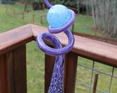 LISTING RESERVED For JACQUELINE for 1 Iris Purple Glass Sculpted Tigger Tail with Baby Blue Ball Garden Art Finial Outdoor Garden Sculpture