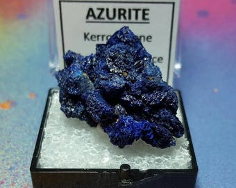 AZURITE Bright Blue Crystal Mineral Specimen In Perky Box From Morocco