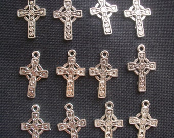 8 Celtic Cross Charms Silver Tone Metal 25mm