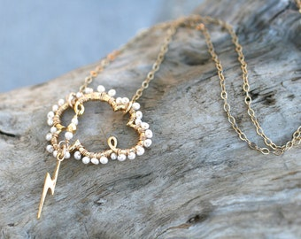 White Freshwater Pearl, 14KT Gold Filled Thunder Cloud and Lightening Bolt Wire Wrapped Necklace, Gold Filled Necklace, June Birthstone