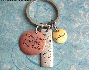 Triple GPS Coordinates Keychain.. Hand Stamped .. customize Lat/Long antiqued metal charm .. Copper, Silver or Gold