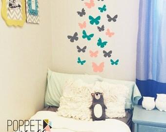 Butterfly Wall Decal Set - Vinyl Wall Art Butterflies - Girls Nursery Wall Art - Butterfly Wall Sticker - CG107