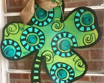 St Patrick's Day Shamrock, Green Four Leaf Clover Door Hanger