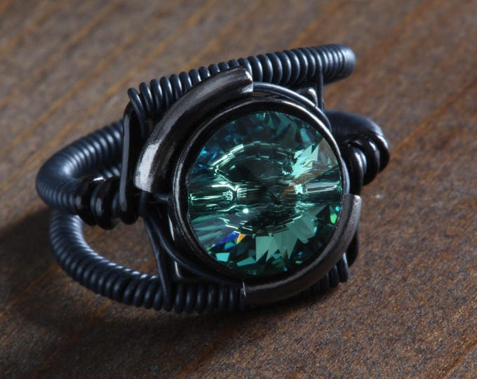 Black Steampunk Ring - Erinite Swarovski Crystal - 9th anniversary Limited Edition