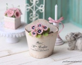 RESERVED for Deborah - Dollhouse miniature pink anemone flowers in 1/12 scale