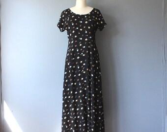 vintage 90s dress / black floral maxi dress / short sleeve grunge dress