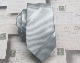 Mens Ties Skinny Tie. Grey and Silver Stripes Skinny Necktie