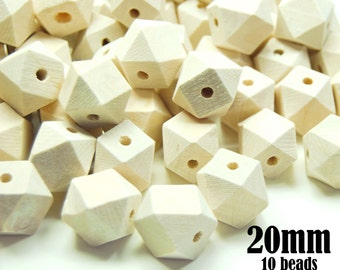 10 Wood Hexagon Beads. faceted beads. hexagon wood beads. cube beads. geometric beads. wood teething beads. 20mm large wooden beads  #120029