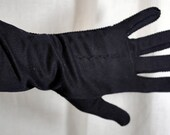 Vintage Connie's Black Nylon Gloves - Size 7 - Double Woven - Made in the USA