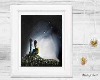 Friendship Gifts - Two Girls Together - Wall Art - Fine Art Print - Prints For Home - Office - Bedroom - Signed by Artist - Surrealism Art