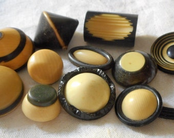 Lot of 11 VINTAGE Assorted Black & White Celluloid BUTTONS