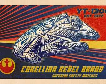 "Corellian Rebel Matchbox Art- 5"" x 7"" matted signed print"