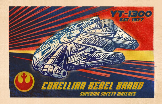 "Corellian Rebel Matchbox Art- 5"" x 7"" matted signed print"