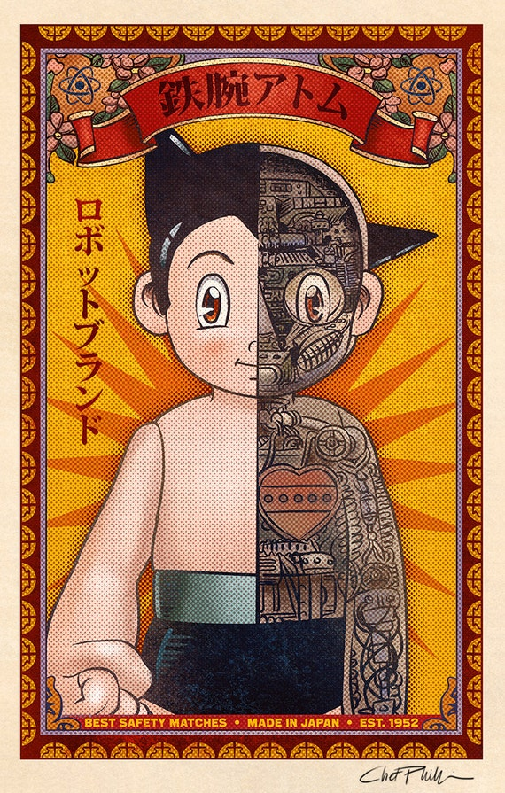 """MIghty Atom Matchbox Art- 5"""" x 7"""" matted signed print"""