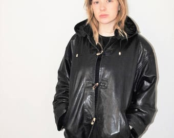 black leather bomber jacket 80s hooded leather toggle coat size small