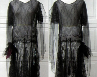 """1920s Flapper Dress Real Vintage Sheer Black Net Lace Opal Sequins Green Glass Beads Downton Abbey Gatsby Girl - BUST 42"""""""