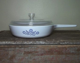 "Vintage Corning Ware Blue Cornflower 6.5"" Skillet Pan w/ Lid"