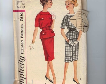 1960s Vintage Sewing Pattern Simplicity 3231 Junior Misses Slim Dress with Rolled Collar Size 12 Bust 32 60s