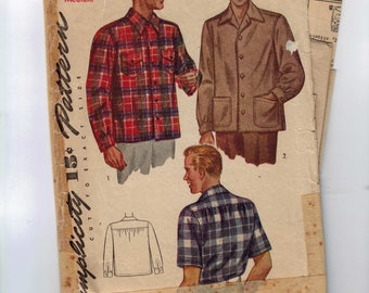 1950s Vintage Sewing Pattern Simplicity 4884 Mens Short Long Sleeve Shirt Double Yoke Size Medium Chest 38 40 50s