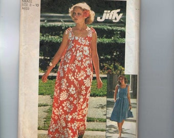 1970s Vintage Sewing Pattern Simplicity 7520 Jiffy Easy Sundress Beach Coverup Size 8 10 Small Bust 31 32 33 1976 70s