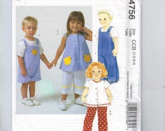 Kids Sewing Pattern McCalls M4756 4756 Boys Girls Jumper Dress Top Romper Overalls Top Chicks Size 1 2 3 4 Chest 20 21 22 23 UNCUT