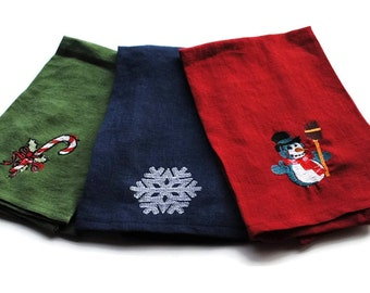Embroidered Tea Towels set of three Linen Dish Towel Hand Towel Red Green Blue Snowman Candy Cane Snowflake