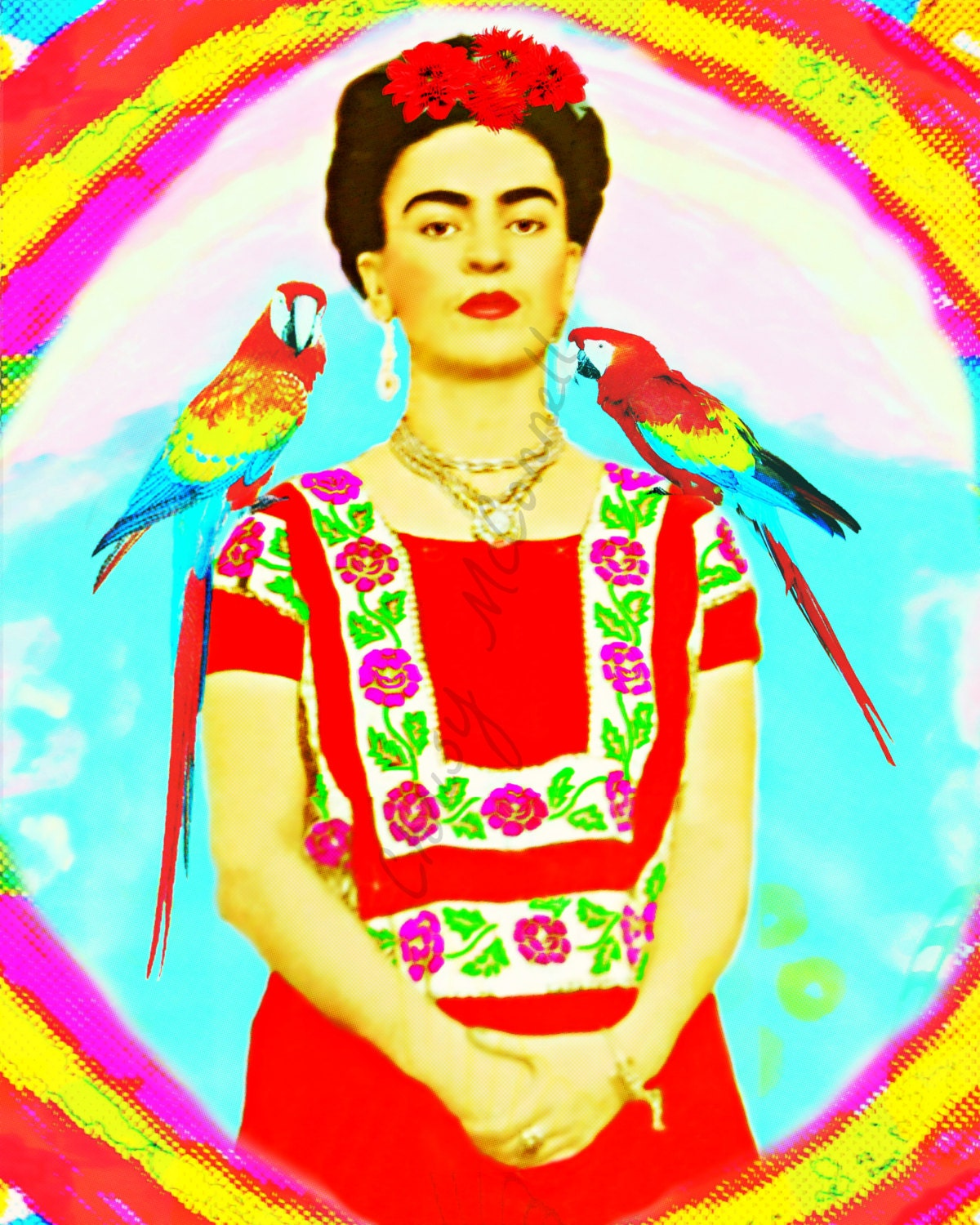 Instant Digital Download Vintage Tarot Cards Collage Sheet 1x2: Frida Kahlo Parrots And Rainbow Poster Print Instant Digital