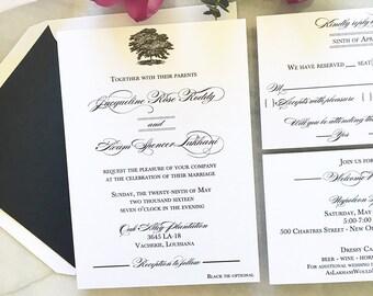 Plantation Wedding Invitation   Oak Tree Wedding Invite   Thermography    Sample