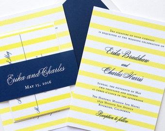 Preppy Stripe Wedding Invitation