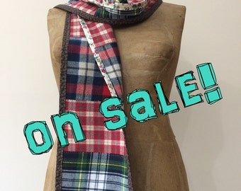 Plaid Scarf in soft cotton flannel, Handmade in Maine, gift for her