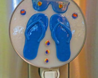 "Flip Flops Night Light - ""Fun In the Sun"" - Flip Flops & Sunglasses Fused Glass Night Light - Can Finish In 2 Ways"