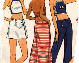 Vintage 70s Summer Halter Midriff Tops Maxi Micro Mini Skirt Shorts Pants Sewing Pattern sz 10 Bust 32.5 Front Button Panel Flared Pants